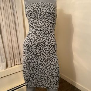 Cheetah print grey and black fitted dress